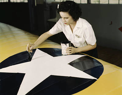 A Female Worker Paints The American Poster