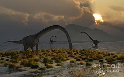 A Herd Of Omeisaurus Sauropod Dinosaurs Poster by Mark Stevenson