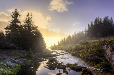 A Hiker Stands By Brook As Sunrise Poster