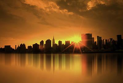Poster featuring the digital art A Manhattan Sunset by Nina Bradica