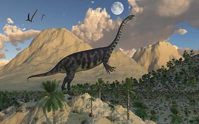 A Massospondylus Dinosaur Poster by Mark Stevenson