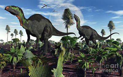 A Pair Of Herbivorous Camptosaurus Poster by Mark Stevenson