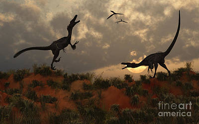 A Pair Of Velociraptors Involved Poster by Mark Stevenson