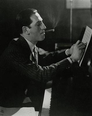 A Portrait Of George Gershwin At A Piano Poster