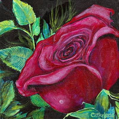 Poster featuring the painting A Rose For My Lily by Cathy Long