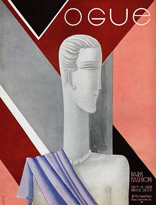 A Vintage Vogue Magazine Cover Of A Mannequin Poster by Eduardo Garcia Benito