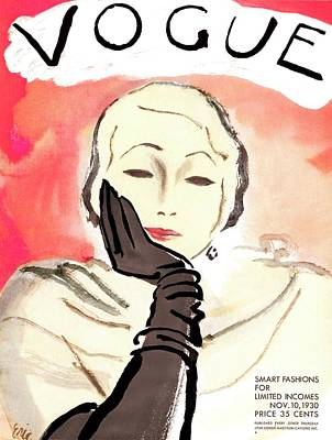 A Vintage Vogue Magazine Cover Of A Woman Poster by Carl Eric Erickson