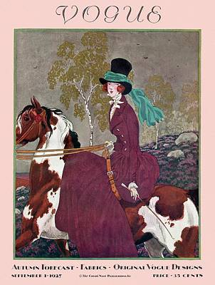 A Vintage Vogue Magazine Cover Of A Woman Poster by Pierre Brissaud