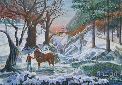 Poster featuring the painting A Winter Sunset by Anthony Lyon