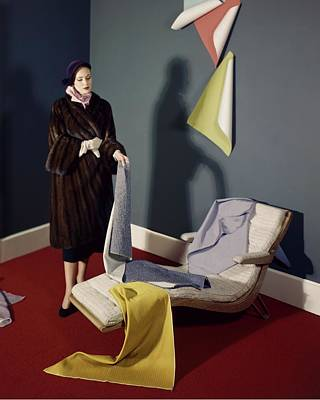 A Woman With Assorted Pieces Of Fabric Poster by Herbert Matter