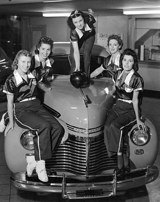 A Women's Bowling Team Poster by Underwood Archives