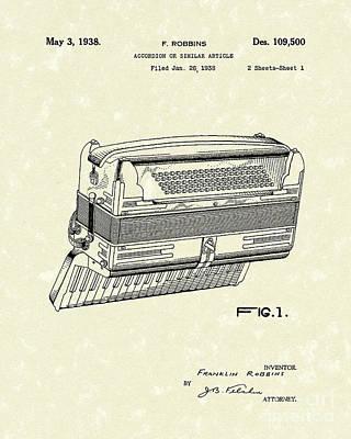 Accordion 1938 Patent Art Poster by Prior Art Design