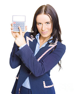 Accountant Pointing To Calculator With Copyspace Poster