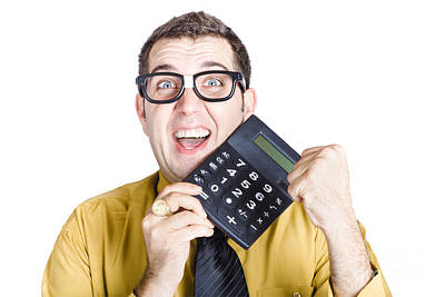 Accounting Man Winning With Calculator Poster by Jorgo Photography - Wall Art Gallery