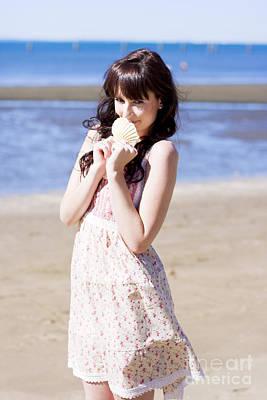 Adorable Seaside Girl Poster