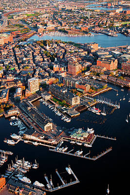 Aerial Morning View Of Harbor Poster