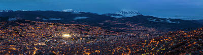 Aerial View Of City At Night, El Alto Poster by Panoramic Images