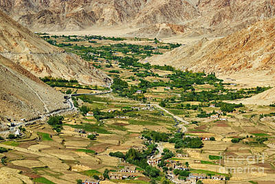 aerial view of Leh ladakh landscape Jammu and Kashmir India Poster by Rudra Narayan  Mitra