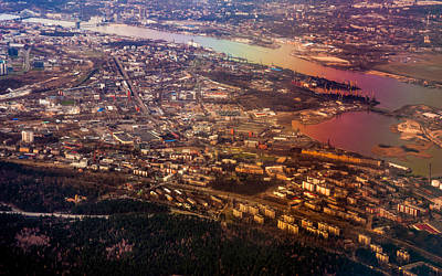 Aerial View Of Riga. Latvia. Rainbow Earth Poster