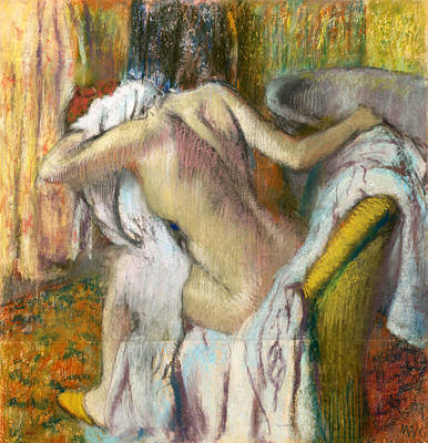 After The Bath Woman Drying Herself Poster