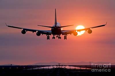 Airplane Landing At Sunset, Canada Poster