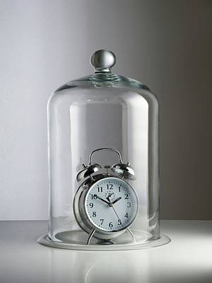 Alarm Clock Inside A Bell Jar Poster by Science Photo Library
