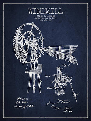 Aldrich Windmill Patent Drawing From 1889 - Green Poster
