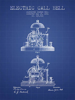 Alexander Graham Bell Electric Call Bell Patent From 1881 - Blue Poster