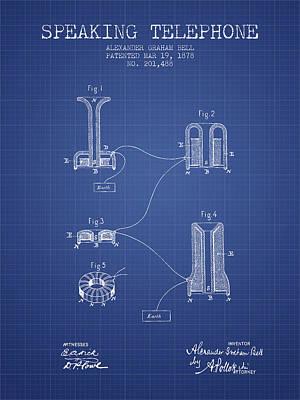 Alexander Graham Bell Speaking Telephone Patent From 1878 - Blue Poster