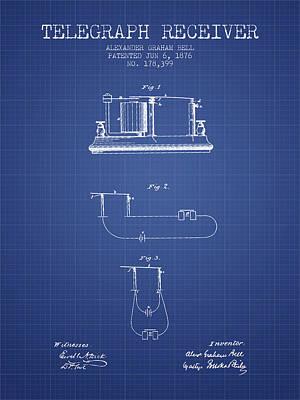Alexander Graham Bell Telegraph Receiver Patent From 1876 - Blue Poster