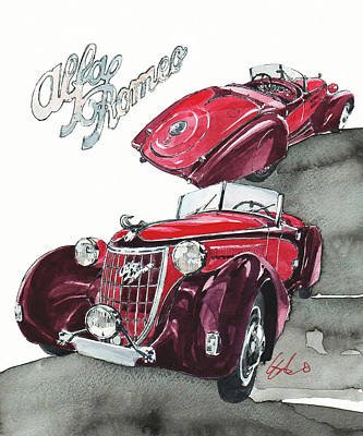 Alfa Romeo C6 Poster by Yoshiharu Miyakawa