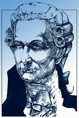 Amadeus Mozart In Blue Poster by Derrick Higgins