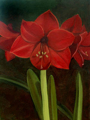 Poster featuring the painting Amaryllis by Nancy Griswold