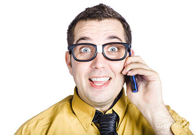 Amazed Businessman On Phone Call Poster by Jorgo Photography - Wall Art Gallery