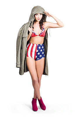 American Army Pinup Girl. Stars And Stripes Salute Poster by Jorgo Photography - Wall Art Gallery