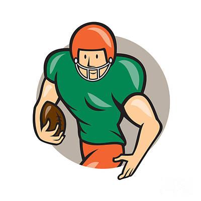 American Football Running Back Circle Cartoon Poster