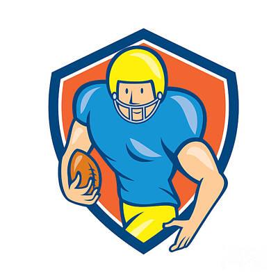 American Football Running Back Shield Cartoon Poster