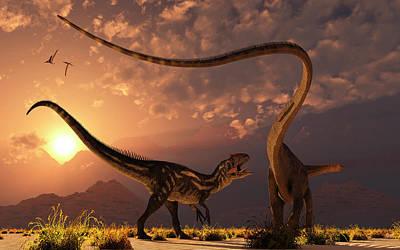 An Allosaurus In A Deadly Battle Poster by Mark Stevenson