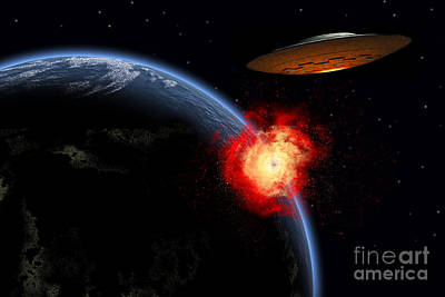 An Orbiting Ufo Launches A Deadly Poster by Mark Stevenson