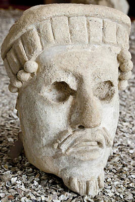 Ancient Carving Of Head Poster by Ellen Thane