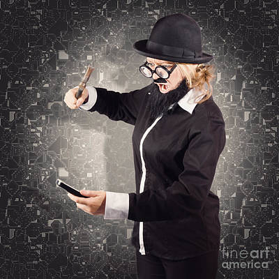Angry Businessman Breaking Smartphone With Hammer Poster