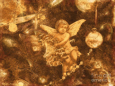 Poster featuring the photograph Antiqued Angel Gold by Roxy Riou