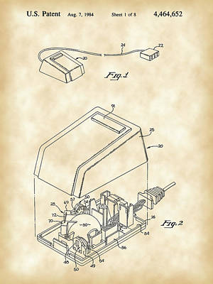Apple Mouse Patent 1984 - Vintage Poster by Stephen Younts