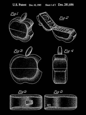 Apple Phone Patent 1985 - Black Poster by Stephen Younts