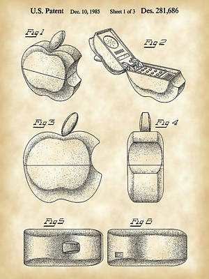 Apple Phone Patent 1985 - Vintage Poster by Stephen Younts