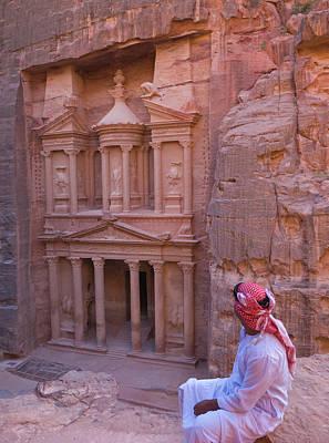 Arab Man Watching Facade Of Treasury Poster