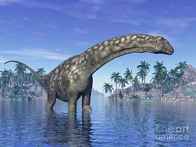 Argentinosaurus Dinosaur Grazing Poster by Elena Duvernay