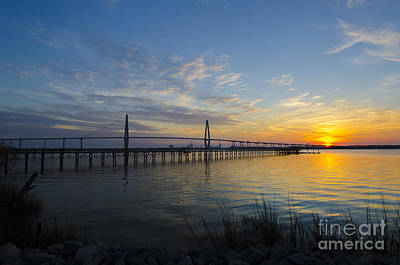 Poster featuring the photograph Sunset Over The Charleston Waters by Dale Powell
