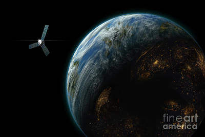 Artists Depiction Of A Satellite Poster
