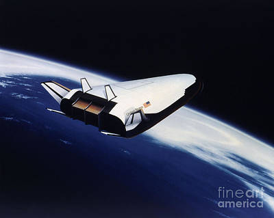 Artists Rendering Of The X-33 Reusable Poster by Stocktrek Images